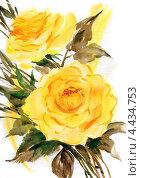 Купить «Рисунок акварелью. Букет жёлтых роз», иллюстрация № 4434753 (c) Ирина Чекмарева / Фотобанк Лори