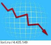 Купить «Падающий красный график на синем фоне», иллюстрация № 4435149 (c) Александр Макаров / Фотобанк Лори