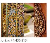 Коллаж. Декоративная резьба на дверях. Азия, Бали. Стоковое фото, фотограф Моисеева Ирина / Фотобанк Лори
