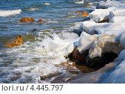 Купить «Таяние льда на морском побережье», фото № 4445797, снято 18 октября 2019 г. (c) Сергей Куров / Фотобанк Лори