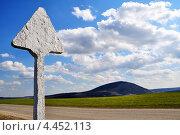 Чистый дорожный знак и пустая дорога на фоне неба. Стоковое фото, фотограф Синенко Юрий / Фотобанк Лори