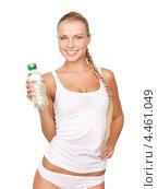 Купить «Привлекательная блондинка в белом хлопковом белье с бутылкой воды», фото № 4461049, снято 8 мая 2010 г. (c) Syda Productions / Фотобанк Лори