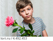 Симпатичный мальчик-подросток с розовой розой в руках. Стоковое фото, фотограф Игорь Низов / Фотобанк Лори