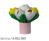 Букет из бумажных цветов со сладостями на белом фоне. Стоковое фото, фотограф Георгий Рогов / Фотобанк Лори