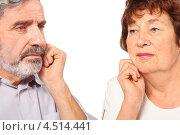 Купить «Пожилая пара на белом фоне, изолированно», фото № 4514441, снято 17 ноября 2011 г. (c) Losevsky Pavel / Фотобанк Лори