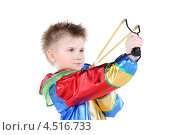 Купить «Мальчик в костюме клоуна стреляет из рогатки», фото № 4516733, снято 29 февраля 2012 г. (c) Losevsky Pavel / Фотобанк Лори