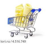 Купить «Два кусочка сыра в продуктовой корзине», фото № 4516749, снято 4 ноября 2011 г. (c) Losevsky Pavel / Фотобанк Лори