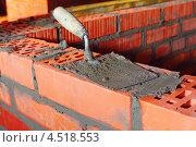 Купить «Кельма на кирпиче с цементом», фото № 4518553, снято 5 октября 2011 г. (c) Losevsky Pavel / Фотобанк Лори