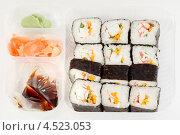 Купить «Набор вкусных японских суши роллов с соевым соусом, васаби и имбирем», фото № 4523053, снято 15 ноября 2011 г. (c) Losevsky Pavel / Фотобанк Лори