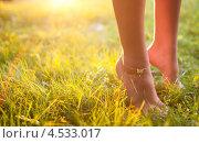 Женские ножки в летней траве в лучах солнца. Стоковое фото, фотограф Игорь Романчук / Фотобанк Лори