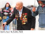 Ветеран на Поклонной горе в День Победы 9 Мая (2012 год). Редакционное фото, фотограф Алёшина Оксана / Фотобанк Лори