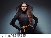 Красивая брюнетка в черном платье стоит на сером фоне. Стоковое фото, фотограф Михайлов Виталий / Фотобанк Лори