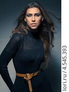 Купить «Брюнетка с развевающими волосами стоит в черном платье на темном фоне», фото № 4545393, снято 2 марта 2013 г. (c) Михайлов Виталий / Фотобанк Лори