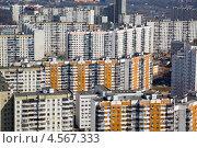 Купить «Вид сверху крыши панельных домов спального района города Москвы, Россия», фото № 4567333, снято 19 апреля 2013 г. (c) Николай Винокуров / Фотобанк Лори