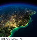 Купить «Вид на ночной земной шар. Фрагмент Южной Америки - Бразилии», иллюстрация № 4569173 (c) Антон Балаж / Фотобанк Лори