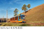 Купить «Новый трамвай на фоне горы и нескольких сосен», фото № 4579833, снято 10 октября 2012 г. (c) Сергей Крылов / Фотобанк Лори