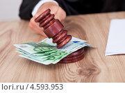 Купить «Продажное правосудие. Молоток судьи и купюры евро», фото № 4593953, снято 14 июля 2012 г. (c) Андрей Попов / Фотобанк Лори