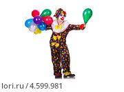 Купить «Веселая девушка клоун с воздушными шариками», фото № 4599981, снято 2 апреля 2013 г. (c) Elnur / Фотобанк Лори