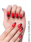 Купить «Красно-черные ногти. Декоративный маникюр», фото № 4600201, снято 11 апреля 2013 г. (c) Elnur / Фотобанк Лори