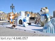 Купить «Символы Олимпиады-2014 в Сочи установили на Манежной площади, Москва», эксклюзивное фото № 4646057, снято 28 марта 2013 г. (c) lana1501 / Фотобанк Лори