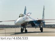 """Купить «Самолёт Су-27 пилотажной группы """"Русские Витязи"""" на рулежке после посадки на аэродроме в Кубинке», фото № 4656533, снято 19 апреля 2013 г. (c) Малышев Андрей / Фотобанк Лори"""