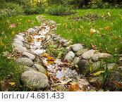 Ручей с камнями в траве с желтыми листьями. Стоковое фото, фотограф Алексей Берестовский / Фотобанк Лори