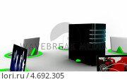 Купить «Laptops connecting with server via internet», видеоролик № 4692305, снято 28 января 2020 г. (c) Wavebreak Media / Фотобанк Лори