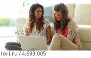 Купить «Women sitting in front of the couch with laptop», видеоролик № 4693005, снято 28 января 2020 г. (c) Wavebreak Media / Фотобанк Лори