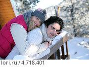Купить «Влюбленная пара на балконе зимой», фото № 4718401, снято 11 января 2010 г. (c) Phovoir Images / Фотобанк Лори