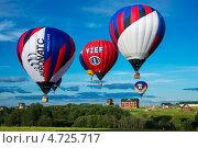 Полет красивых воздушных шаров (аэростатов) над полем и лесом в солнечный летний день (2012 год). Редакционное фото, фотограф Галина Вишнякова / Фотобанк Лори