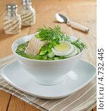 Холодный суп на щавелевом отваре с добавлением рыбы. Стоковое фото, фотограф Надежда Мишкова / Фотобанк Лори