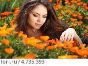 Купить «Красивая брюнетка в оранжевых цветах календулы», фото № 4735393, снято 24 апреля 2013 г. (c) Photobeauty / Фотобанк Лори