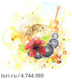 Купить «Тропический плакат с гибискусом, гитарой и диско-шаром», иллюстрация № 4744989 (c) Анна Павлова / Фотобанк Лори