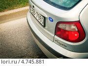Купить «Латвия. Наклейка Евросоюза на задней части машины Megane.», фото № 4745881, снято 5 мая 2013 г. (c) Сергей Лешков / Фотобанк Лори