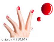 Купить «Красивая женская рука с красным маниюкюром», фото № 4750617, снято 29 мая 2013 г. (c) Валуа Виталий / Фотобанк Лори