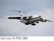 Ил-76 МЧС РОССИИ,заходит на посадку в аэропорт Пулково. Редакционное фото, фотограф Олег Пластинин / Фотобанк Лори