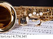 Купить «Саксофон лежит на музыкальных нотах», фото № 4774341, снято 23 декабря 2012 г. (c) Андрей Попов / Фотобанк Лори