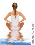 Купить «Стройная молодая женщина в скромном хлопковом белье сидит у воды», фото № 4776881, снято 16 сентября 2012 г. (c) Syda Productions / Фотобанк Лори