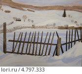 Зима в деревне. Акрил. Стоковая иллюстрация, иллюстратор Natalia Nemtseva / Фотобанк Лори