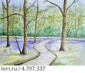Летний лес. Акварель. Стоковая иллюстрация, иллюстратор Natalia Nemtseva / Фотобанк Лори