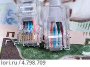 Купить «Компьютерные разъемы на фоне украинских банкнот», фото № 4798709, снято 27 июня 2013 г. (c) Владимир Белобаба / Фотобанк Лори