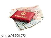 Служебное удостоверение лежащее на деньгах. Стоковое фото, фотограф Михаил Бессмертный / Фотобанк Лори