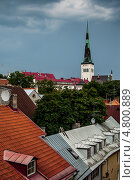 Купить «Крыши Таллина с видом на церковь Олевисте», фото № 4800889, снято 17 августа 2010 г. (c) Тимур Ахмадулин / Фотобанк Лори