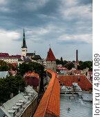 Купить «Крыши Таллина с видом на церковь Олевисте, крепостную башню и стену», фото № 4801089, снято 17 августа 2010 г. (c) Тимур Ахмадулин / Фотобанк Лори