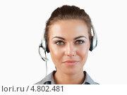 Крупный план, женщина-агент телефонного центра. Стоковое фото, агентство Wavebreak Media / Фотобанк Лори
