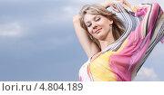 Купить «Красивая светловолосая девушка на фоне неба», фото № 4804189, снято 7 мая 2010 г. (c) Станислав Фридкин / Фотобанк Лори