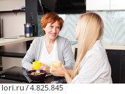 Мама с дочкой общаются на кухне. Стоковое фото, фотограф Гладских Татьяна / Фотобанк Лори