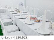 Купить «Кейтеринг. Фрагмент стола со столовыми приборами и блюдами с пищей», фото № 4826929, снято 30 июня 2013 г. (c) Родион Власов / Фотобанк Лори