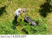 Купить «Мужчина ухаживает за газоном», фото № 4839697, снято 11 июля 2013 г. (c) WalDeMarus / Фотобанк Лори