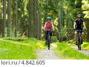 Пара велосипедистов лесу. Стоковое фото, фотограф CandyBox Images / Фотобанк Лори